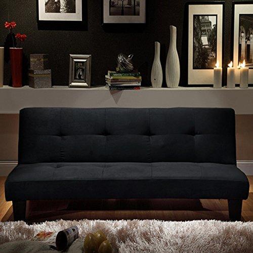 Sofa cama Moderno164x95 negro, microfibra, sofá de sala de ...