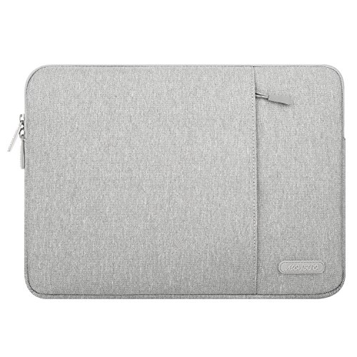 (MOSISO Polyester Vertical Style Water Repellent Laptop Sleeve Case Bag Cover with Pocket Compatible 13-13.3 Inch MacBook Pro, MacBook Air, Notebook, Gray)