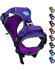 ThinkPet No Pull Harness Breathable Sport Harness with Handle - Reflective Padded Dog Safety Vest Adjustable Harness, Back /Front Clip for Easy Control L Purple