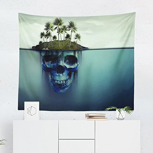 Skull Tapestry Wall Hanging - Printed in the USA - Small to Giant Sizes - Creepy Scary Halloween Horror Tapestries Dorm Room Bedroom Décor Art -