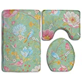 Huayaa Bathroom Non-Skid Carpet Bath Rugs 3 Pieces Set Water-Absorbing Flower Wallpaper Flannel Toilet Floor Bath Mats Contour Rug Lid Cover