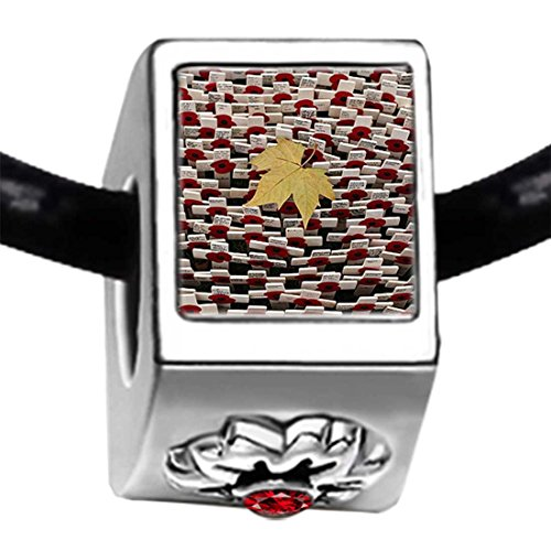 poppy cross maple leaf Memorial Day Red Siam Crystal January Birthstone Flower Bead Charm Bracelets