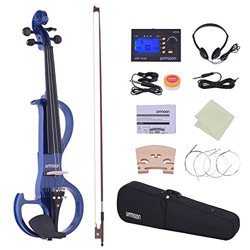 ammoon Full Size 4/4 Solid Wood Electric Silent Violin Fiddle Style-3 with Ebony Fingerboard Pegs Chin Rest Tailpiece (Blue)