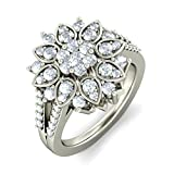 14K White Gold (HallMarked), 1.08 cttw Round-Cut Diamond (IJ | SI ) Cocktail Diamond Engagement Wedding Ring Size - 11