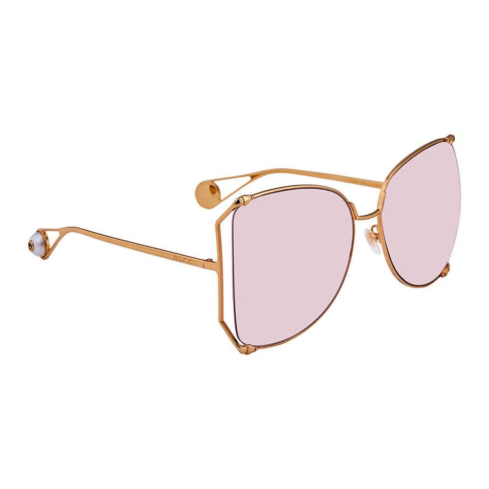 Amazon.com: GUCCI 0252 GG0252S - Gafas de sol de metal con ...