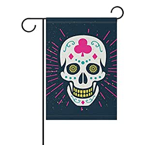 coosun claro Halloween Sugar Skull poliéster Jardín Bandera en exteriores Bandera Home Party Jardín Decoración, doble cara, 12x 18