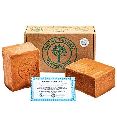 Grüne Valerie® Original Aleppo Seife Set 2 x 200g (400g) mit 40%/60% Lorbeeröl/Olivenöl, PH Wert 8 Detox, Handarbeit, 6 Jahre gereift, Bekannt aus dem Reformhaus!
