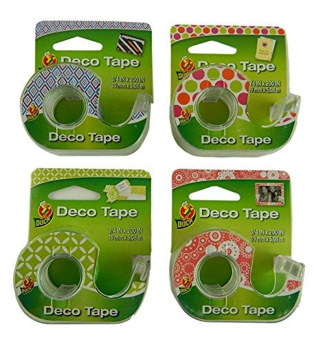 Deco Print - Duck Brand Deco Variety Pressure Sensitive Decorator Printed Assortment Tape 4-Pack Bundle