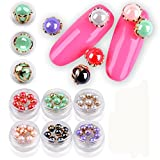 Nacome New Highlight Shell Pearl Beads Alloy Edge Nail Pearls DIY 3D Manicure Nail Art Beads (Green)