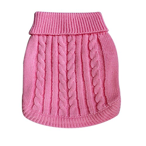 Tangpan Turtleneck Classic Straw-rope Pet Dog Sweater Apparel (Pink, L)