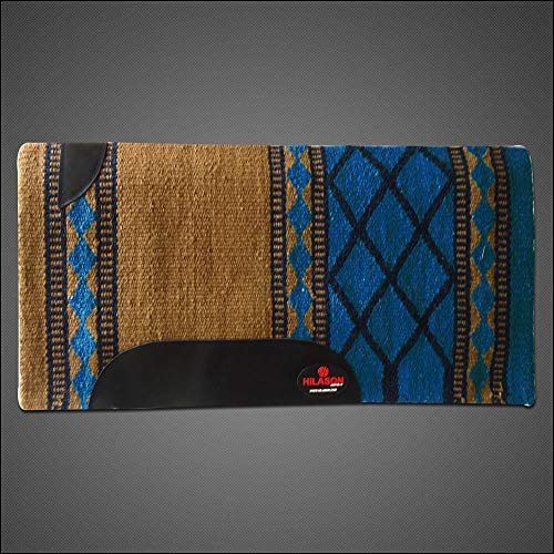 HILASON Western New Zealand Wool Horse Saddle Blanket Brown Turquoise