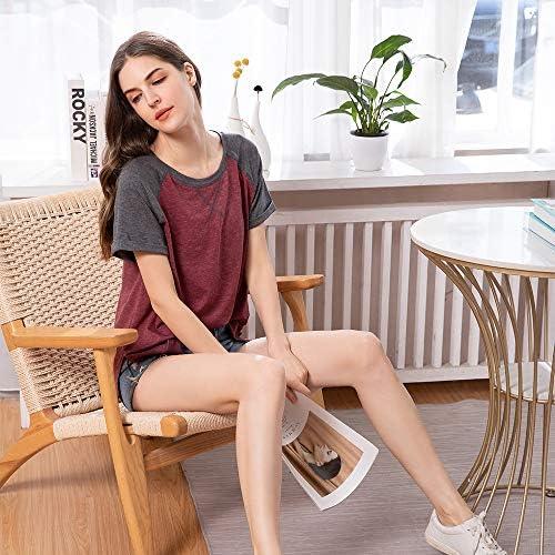 XBUTY Womens Short Sleeve Raglan Crewneck T Shirts Tees Color Block Casual Loose Fit Tshirts Tops