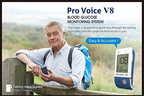 Pro-Voice-V8-Diabetes-Testing-kit-1-Pro-Voice-V8-TALKING-Meter-100-Test-Strips-100-Lancets-1-Painless-Design-Lancing-Device-Owners-Manuals-Carry-Case