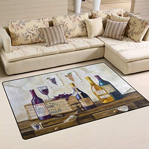 WOZO Wooden Bottle Wine Grape Area Rug Rugs Non-Slip Floor Mat Doormats Living Room Bedroom 60 x 39 inches