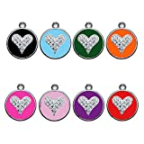 Stainless Steel with Enamel Pet ID Tags Personalized Designers Round Crystal Heart by CNATTAGS (Purple)
