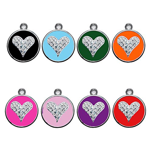 Stainless Steel with Enamel   Dog Tags Pet Tags Cat Tags   Designers Crystal Round Heart  by CNATTAGS (LIFE TIME WARRANTY) (Pink Hot)