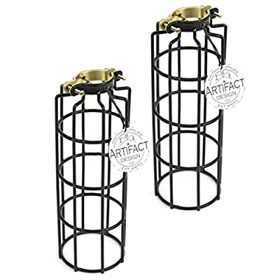 Rustic State Set of 2 Industrial Vintage Style Metal Wire Cylinder Light Cage | Lamp Guard for DIY Pendant Style Lamps | 10 Inch Long Black