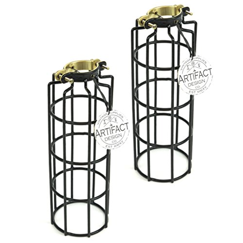 Rustic State Set of 2 Industrial Vintage Style Metal Wire Cylinder Light Cage | Lamp Guard for DIY Pendant Style Lamps | 10 Inch Long Black (Pendant Cage Wire)