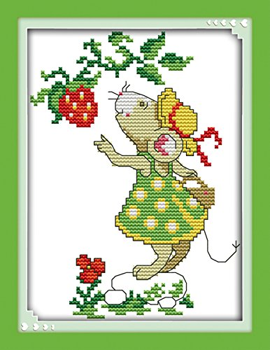 """eGoodn Stamped Cross Stitch Kits Printed Pattern - Mice And Strawberry, 11CT Fabric Measures 7.9"""" By 9.9"""", Wall Decor Art Embroidery Cross-Stitching, No Frame"""