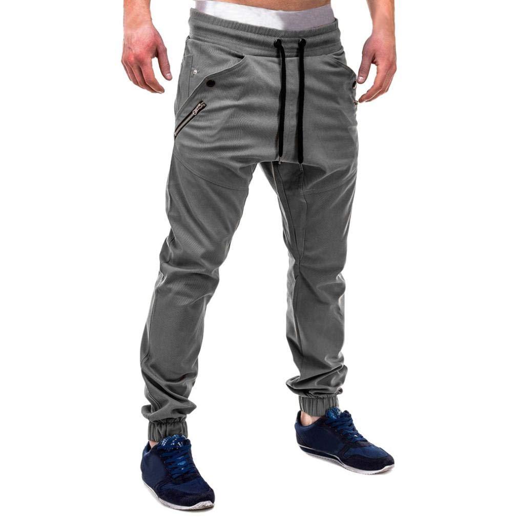 iZHH Fashion Men's Sweatpants Drawstring Pants Zipper Patchwork Cotton Casual(Gray,46)
