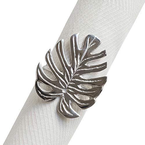 Fennco Styles Gold Plated Metal Palm Tree Monstera Napkin Rings - Set of 4 (Silver -