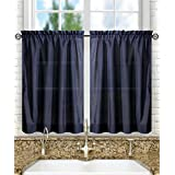 Ellis Curtain Stacey Tailored Tier Pair Curtains, 56-Inch x 45-Inch, Navy
