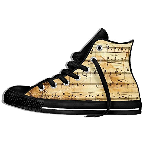 Classiche Sneakers Alte Scarpe Di Tela Anti-skid Note Musicali Casual Da Passeggio Per Uomo Donna Nero