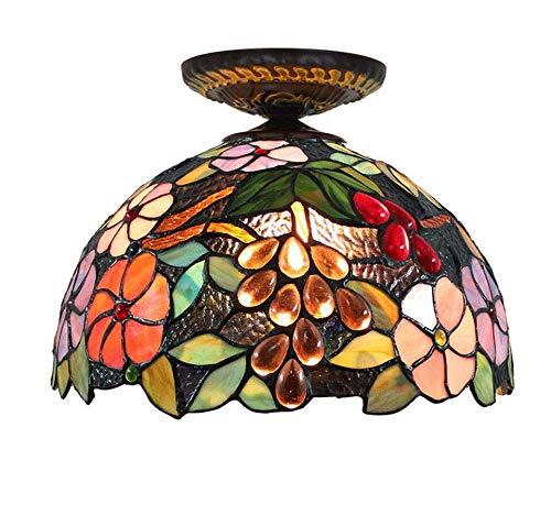 Lámpara de techo estilo Tiffany, perlas de vidrio con ...