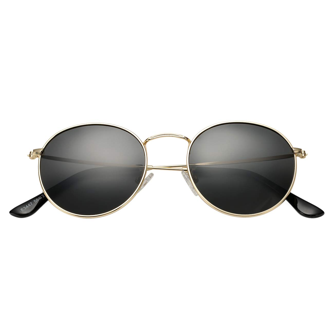 BOURYO Classic Polarized Small Round Sunglasses for, A1 Gold/Black, Size 50mm by BOURYO