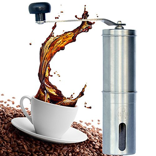 Manual Coffee Grinder Stainless Steel Ceramic Burr Adjustable Whole Bean Portable Quiet