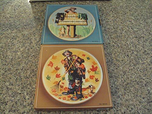 2 Collectors Emmett Kelly Jr Clown Plates by Flambro 1991 1 Autographed