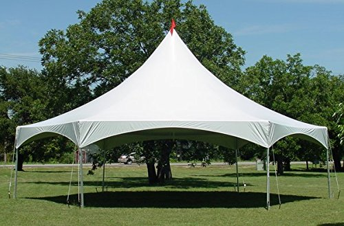 (40-Foot by 40-Foot White High Peak Hexagon Frame Style Party Tent for Weddings, Graduations, and)