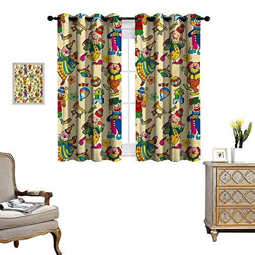 Nursery Patterned Drape for Glass Door Circus Carnival Artful Festive Pattern Dancing Characters Toys Clowns Entertainment Waterproof Window Curtain W63 x L72 Multicolor