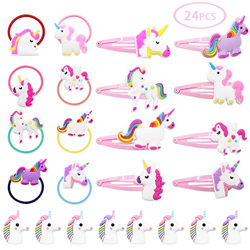 JUSTIDEA 24pcs Cute Unicorn Hair Clips Pink Hair clip holder for Baby Girls, unicorn hair tie PVC Epoxy unicorn Pen Set Soft Silicone ()