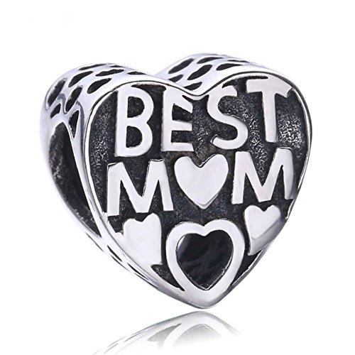 Best Mum Heart Charm Sister Mum Friend gift will fit Pandora and Biagi...