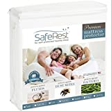 1 Inch Gel Memory Foam Topper Queen Size SafeRest Premium Hypoallergenic Waterproof Mattress Protector - Vinyl Free
