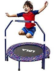 LBLA Trampoline, trampolín para niños con pasamanos ajustable y funda acolchada de seguridad Mini bungee Rebounder plegable Trampolín para interiores / exteriores ø 92 cm máximo Capacidad de peso 60kg