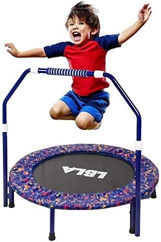 36-Inch Kids Trampoline Little Trampoline with Adjustable Handrail and Safety Padded Cover Mini Foldable Bungee Rebounder Trampoline Indoor/Outdoor