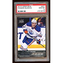 10 CONNOR McDAVID 2015 UD YOUNG GUNS RC SP ROOKIE OILERS CAPTAIN SUPERSTAR - PSA/DNA Certified - Hockey Slabbed Autographed Cards