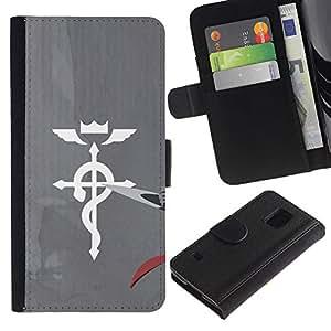 KLONGSHOP // Tirón de la caja Cartera de cuero con ranuras para tarjetas - Medicina Cruz - Samsung Galaxy S5 V SM-G900 //