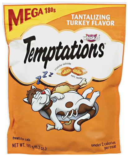 Temptations Classic Treats For Cats Tantalizing Turkey Flavor 6.3 Ounces (Pack Of 5)]()