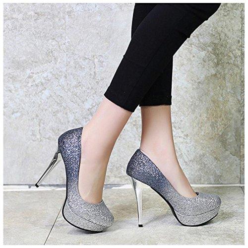 Women Taoffen On Shiny Blue Shoes Slip Court PUwRZqfd