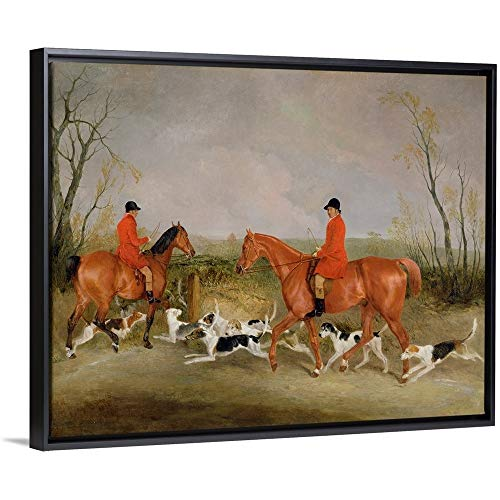 Richard Barrett Davis Floating Frame Premium Canvas with Black Frame Wall Art Print Entitled George Mountford, Huntsman to The Quorn, and W. Derry 30