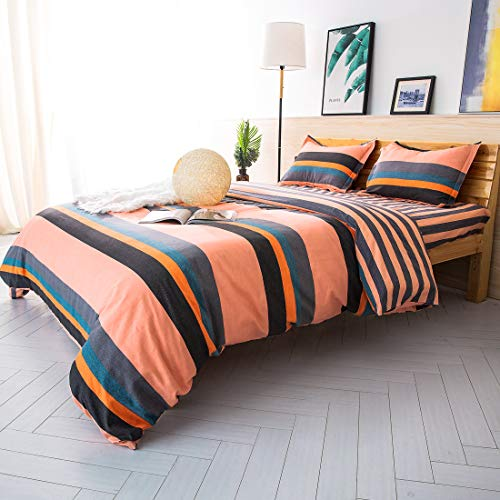 ESLITE LIFE 3 PCS Bedding Duvet Cover Queen, 100% Cotton Duvet Cover Set,Ultra Soft and Easy Care,Simple Style Bedding Sets with Zipper,90 x 90 inches, (Stripe Orange, Queen)