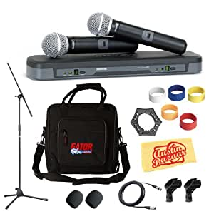 shure pg288 pg58 dual vocal handheld wireless microphone system pack with case mic. Black Bedroom Furniture Sets. Home Design Ideas