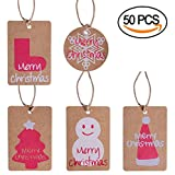 50pcs Kraft Paper Christmas Gift Tags for Christmas Gift Wrapping Label Package Name Card, 5 Styles