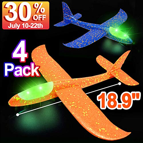 4 Pack 18.9'' Foam Airplane Toys for Kids, Large LED Light Up Throwing Plane Foam Glider Airplane Outdoor Sport Flying Toys for Boys Girls, Flying Game Toy Gift for Kids -
