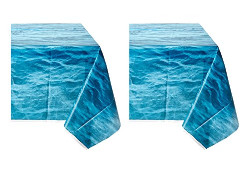 Set of 2 Unique Industries Ocean Waves Plastic Tablecloth, 108