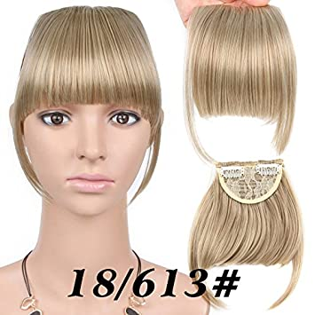 Amazon Com Neat Front Clip In Hair Bang Extensions Short Straight