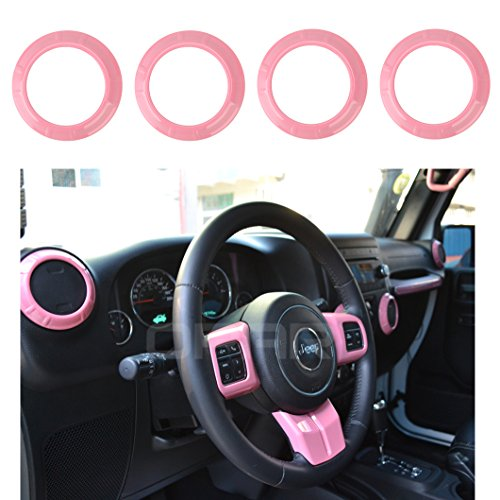 Pink Air Conditioning Vent Cover Interior Trim for 2011-2018 Jeep JK Wrangler & Wrangler Unlimited Sahara Rubicon- Set ()